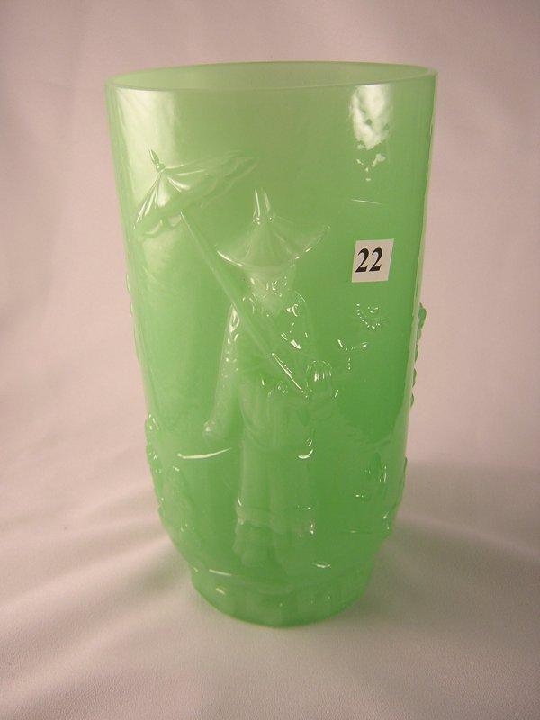 """22: Jade Green Mandarin 9"""" tall vase, ca. 1979-80. The"""