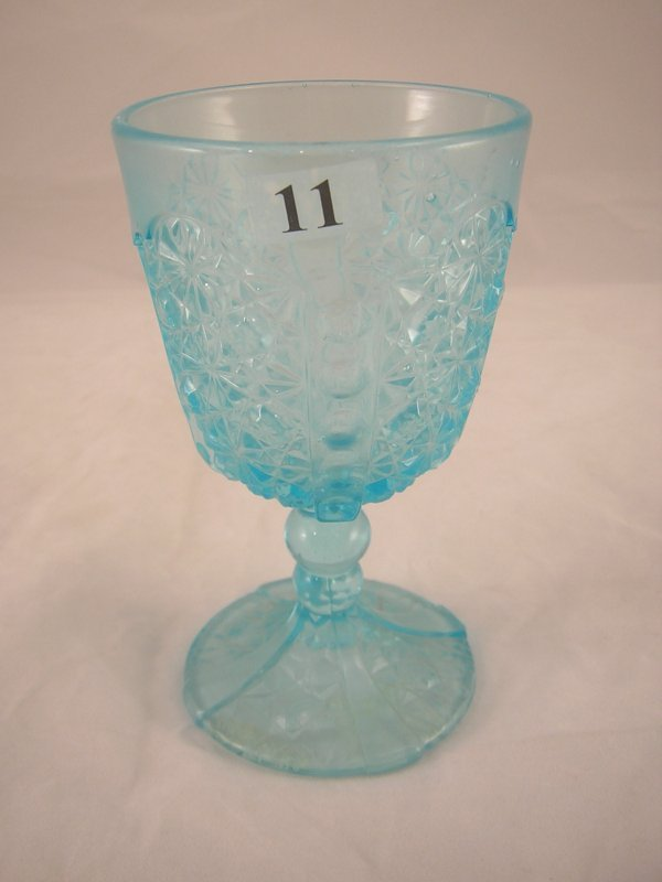11: Light Blue Daisy and Button with Thumbprint goblet,