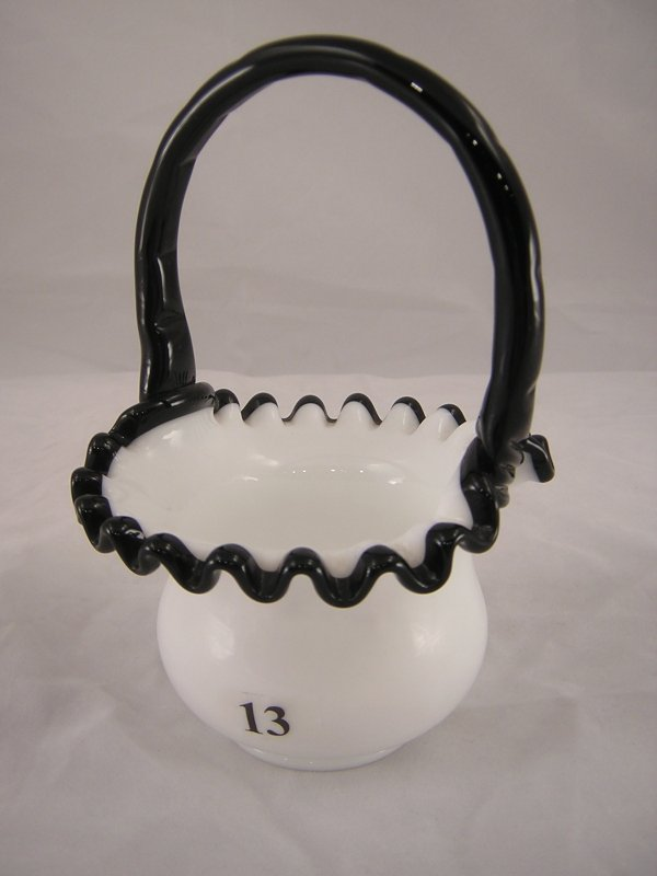 "13: Rare Black Crest 7436 BC basket, 6.5"" tall. The han"