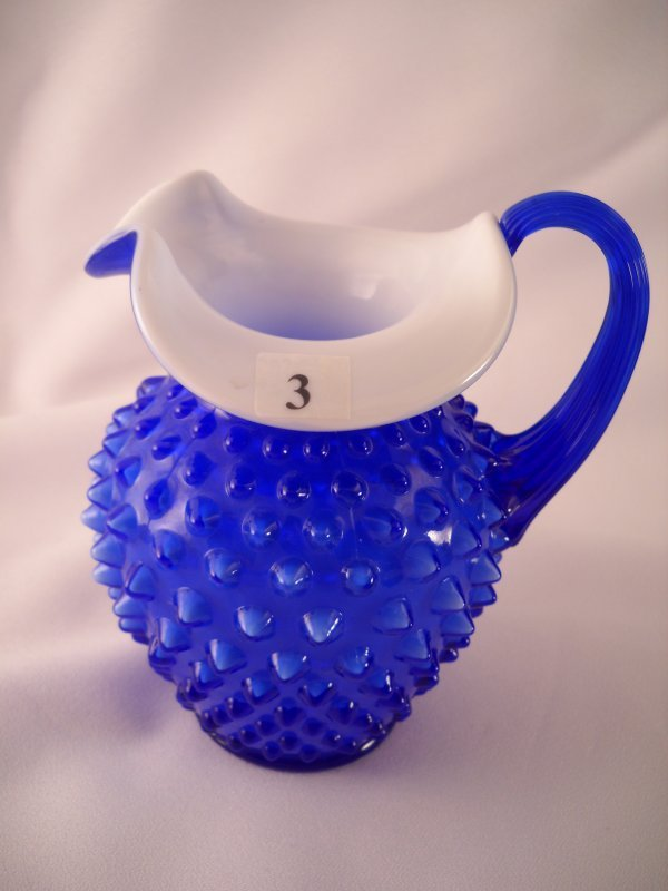 "3: Cobalt blue overlay 3366 5.5"" tall Hobnail pitcher w"