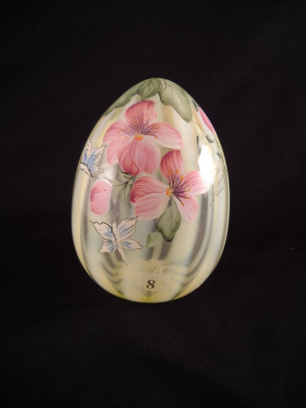"8: Topaz Opalescent rib optic blown Egg (5"" tall) with"