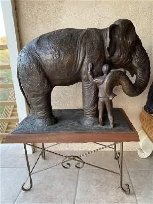 HUGE Elephant  and Human bronze sculpture