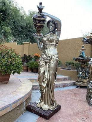 Bronze Lady Statue Fountain  - Life Size
