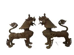 Bronze Chinese Foo Dogs or Tibetan Snow Lions