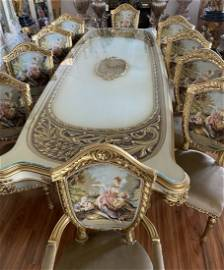 Luxury French S. Dining table and 10 Tapestry Chairs