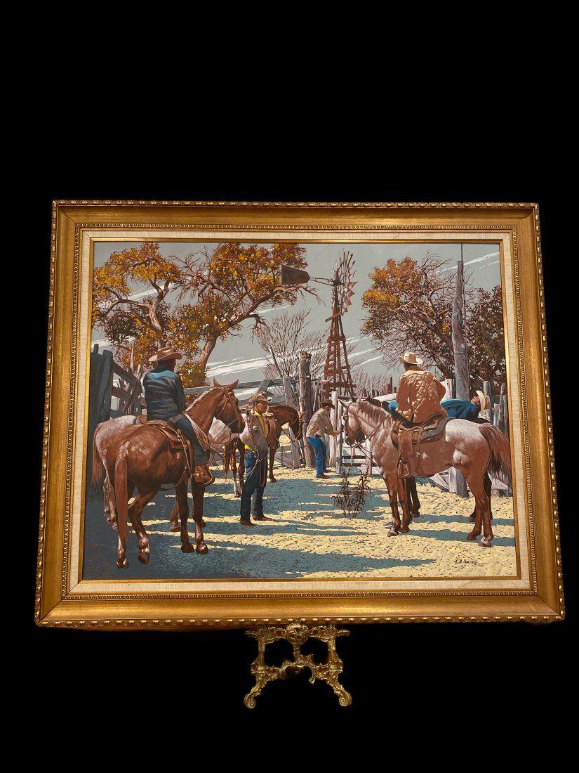 Huge -Cowboys Painting by Lawrence Benjamin Porter