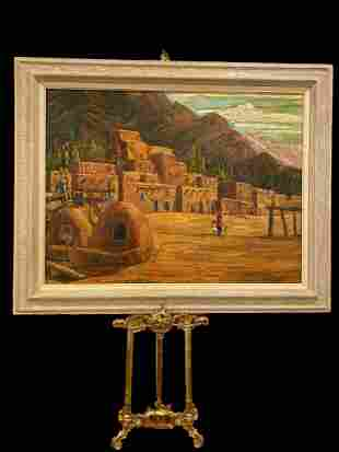 Native American Adobe Oil Painting by E Zepeda
