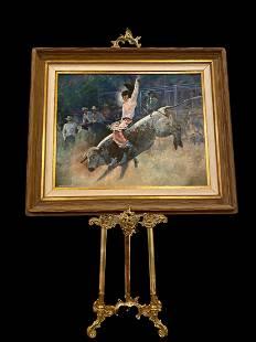 Western Cowboy Bullfighting Oil Painting