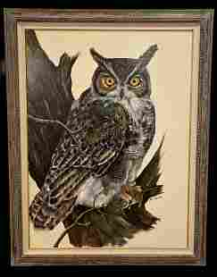 Huge Owl Oil Painting by Dowell
