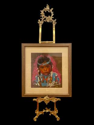 Native American Girl Pastel Painting -by Chodat