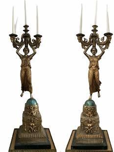Huge Bronze Mythology Candelabras