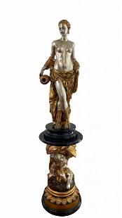 Bronze Goddess Sculpture and Pedestal