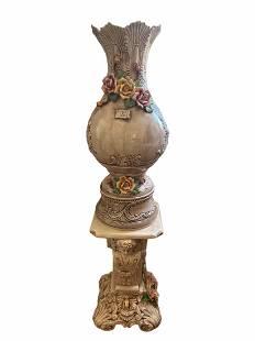 Huge Italian Capodimonte Vase and Pedestal