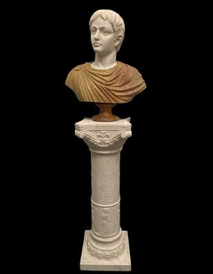 Marble Man Bust and Pedestal