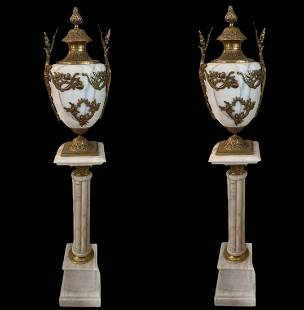 Brass and Marble Urn and Pedestals