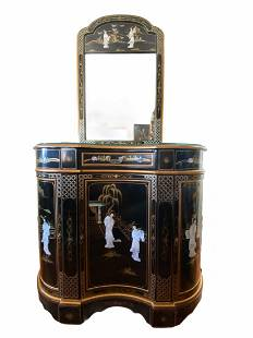 Oriental Mother of Pearl Console Table and Mirror