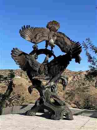 Monumental Bronze Eagles Sculpture