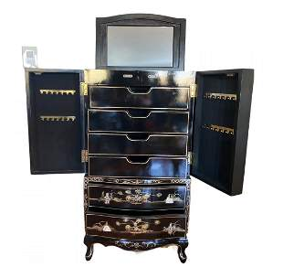 Large Oriental Mother of Pearl Jewelry Chest