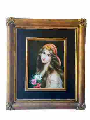 Large Oil Painting On Panel Lady