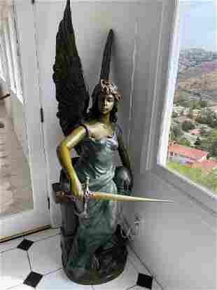 Huge Female Angel Bronze Sculpture
