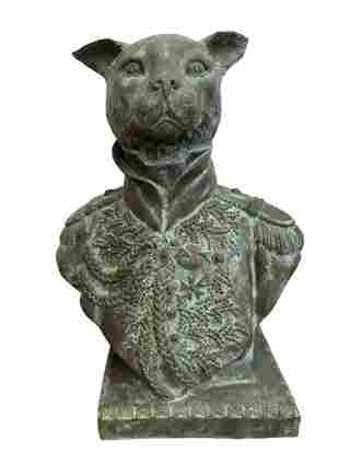 Bronze Cat in Military Uniform