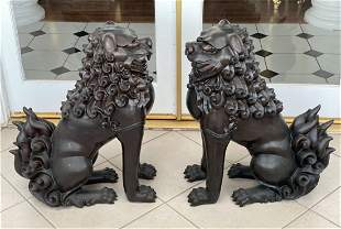 Large Pair of Bronze Foo Dogs
