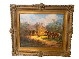 Horses Near the Cabin - Limited Edition Painting