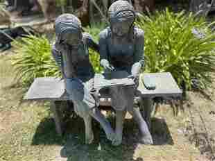 Life Size Bronze Girls Sculpture