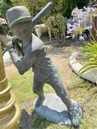 Life Size Bronze Sculpture Boy Playing Baseball