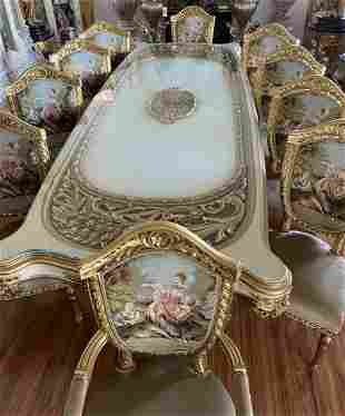 Luxury French Style Tapestry Dining table and Chairs