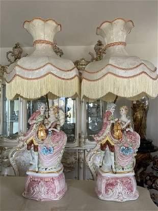 Large Capodimonte Porcelain Musicians Lamps