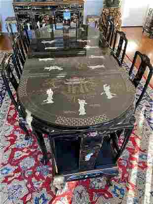 Oriental Mother of Pearl Dining Table and 8 Chairs