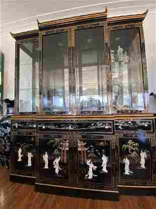 Oriental Mother of Pearl Black Lacquer China Cabinet