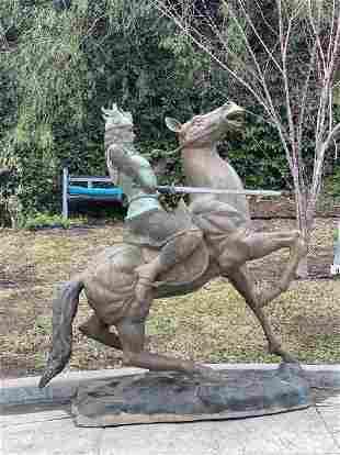 Life Size Bronze VIKING WARRIOR on Horse Statue