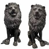 Pair of Bronze Lions