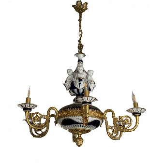 1990s French S. Bronze 6 Arms Porcelain Chandelier