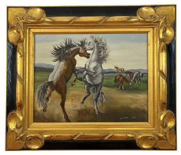 Horses Fighting Oil On Panel - Painting