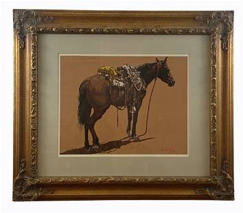Horse with Saddle by L. B Porter Oil Painting