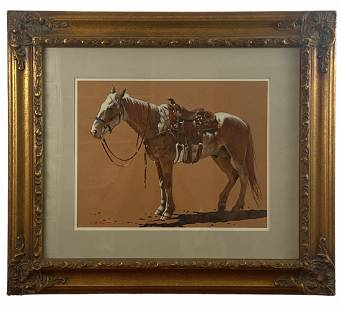 Horse with Saddle by L. B Porter Oil Painting 1987