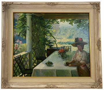 On the Terrace -Original Oil Painting by W. Sallman