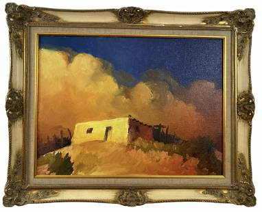 White House Oil on Panel Painting by Morales