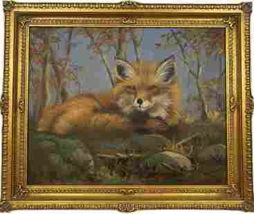 Red Fox Oil on Canvas Painting
