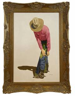 Cowboy by Walt Johnston-1982 Oil painting on Panel