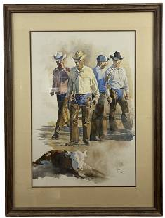 Retire like Hell by Darrah - 1982 Watercolor Painting