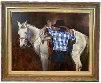 Riding -Large Oil Painting on Panel by Tom Darrah