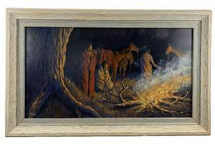 Native American Oil Painting on Panel - Signed 1992