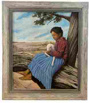 XL- Native American Girl Holding a Sheep - Oil Painting