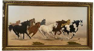Horses Oil Painting by E. Homues