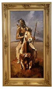 Large Native American On Horse by Hector Morales