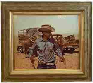 Cowboy - Western Oil painting L. B Porter